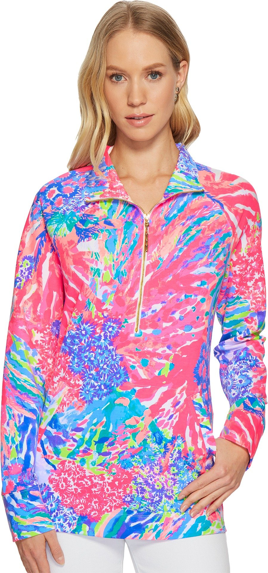 Lilly Pulitzer Women's UPF 50+ Skipper Printed Popover Multi Rainbow Soleil Medium