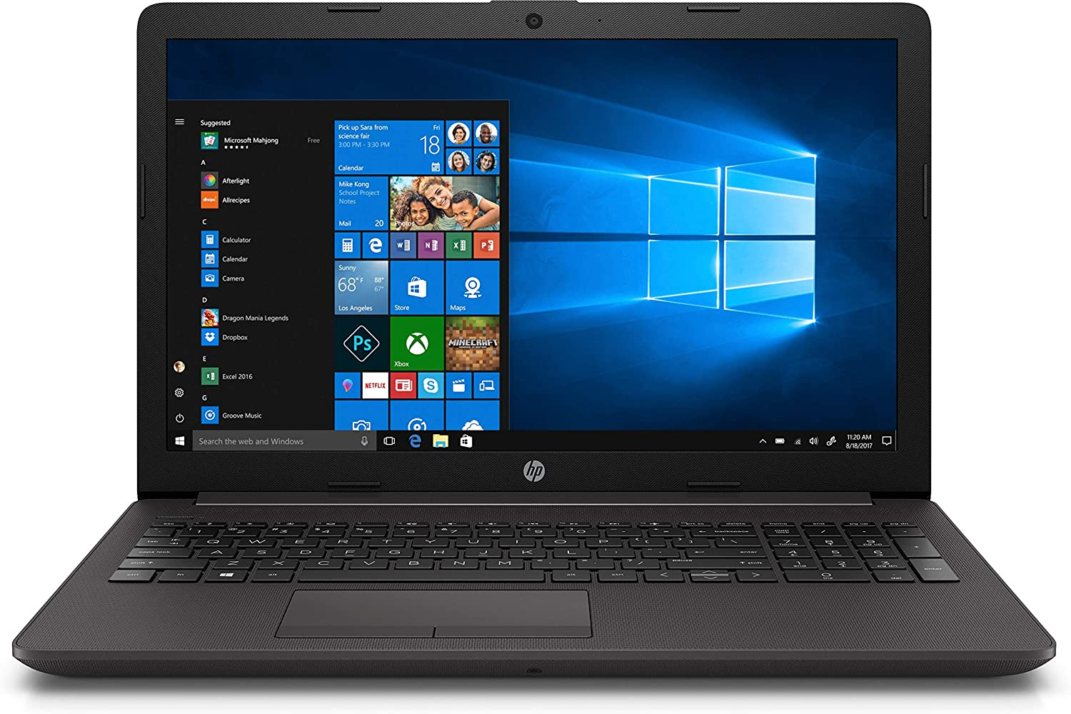 HP 250 G7 Notebook pc, Intel Celeron N4000, 4 GB di RAM, SSD da 128 GB, Nero