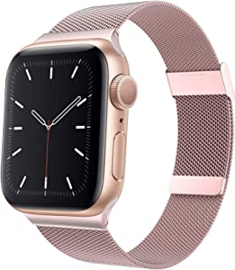 Aoute Compatible with Apple Watch Bands 38mm 40mm 42mm 44mm Women Men, Stainless Steel iWatch Bands for Series 6/SE/5/4/3/2/1(40mm Rose Gold)