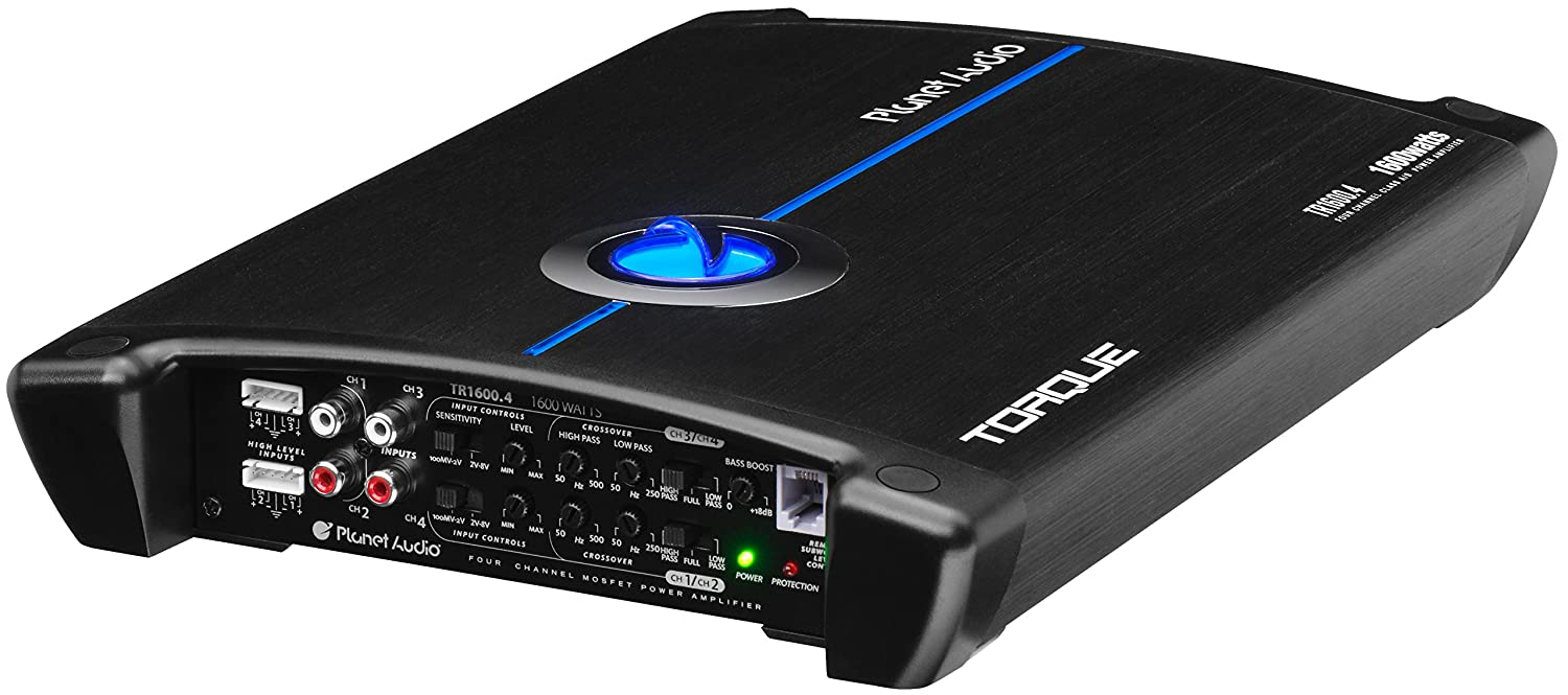 Planet Audio TR2400.4 Torque 2400 Watt MOSFET Car Amplifier with Remote Subwoofer Control 2 to 8 Ohm Stable Class A//B Bridgeable Full Range 4 Channel
