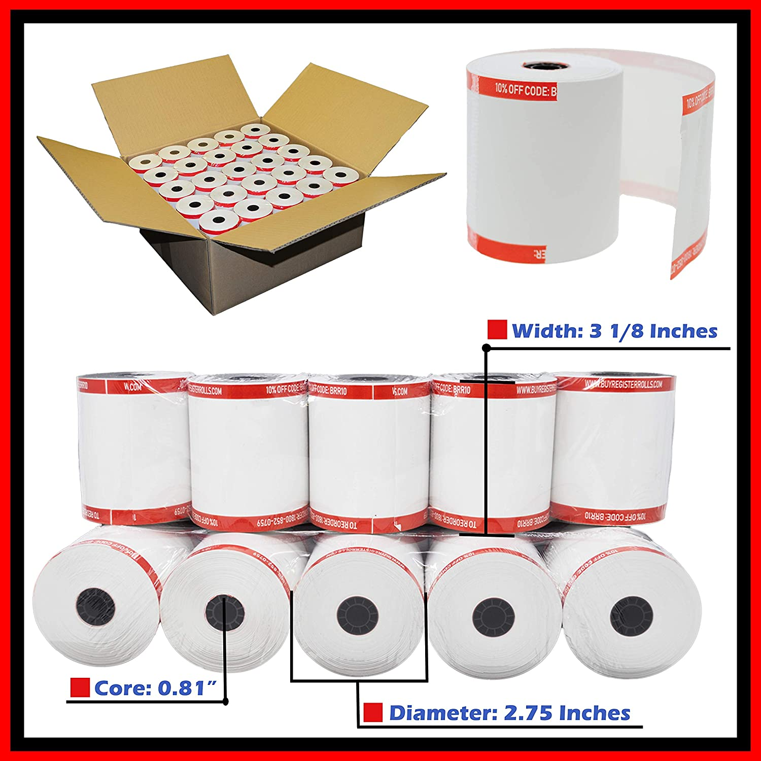 (50 Rolls) Shrink Wrapped 3 1 8 x 230 Thermal Receipt Paper Premium Quality Cash Register Paper Made in USA from BuyRegisterRolls 81FVPHq8keL