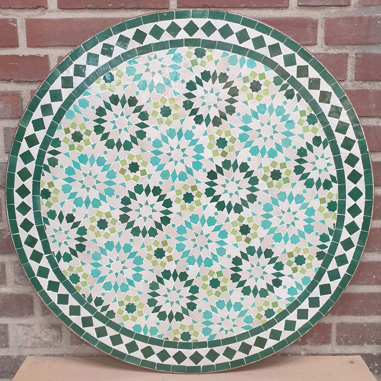 Casa Moro | Mesa de jardín con mosaico marroquí, diámetro de 80 cm, color turquesa, redonda, con estructura de 73 cm, artesanía de Marrakesch | MT2232