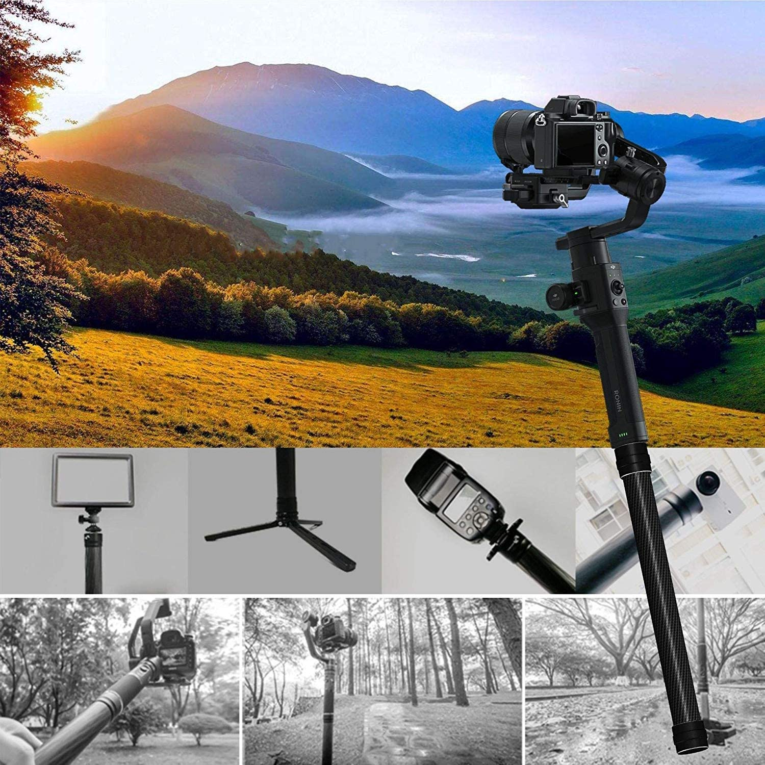 Portable Extension Stick Monopod Rod Handheld for DJI Ronin S Fit for 1//4 3//8 Screws