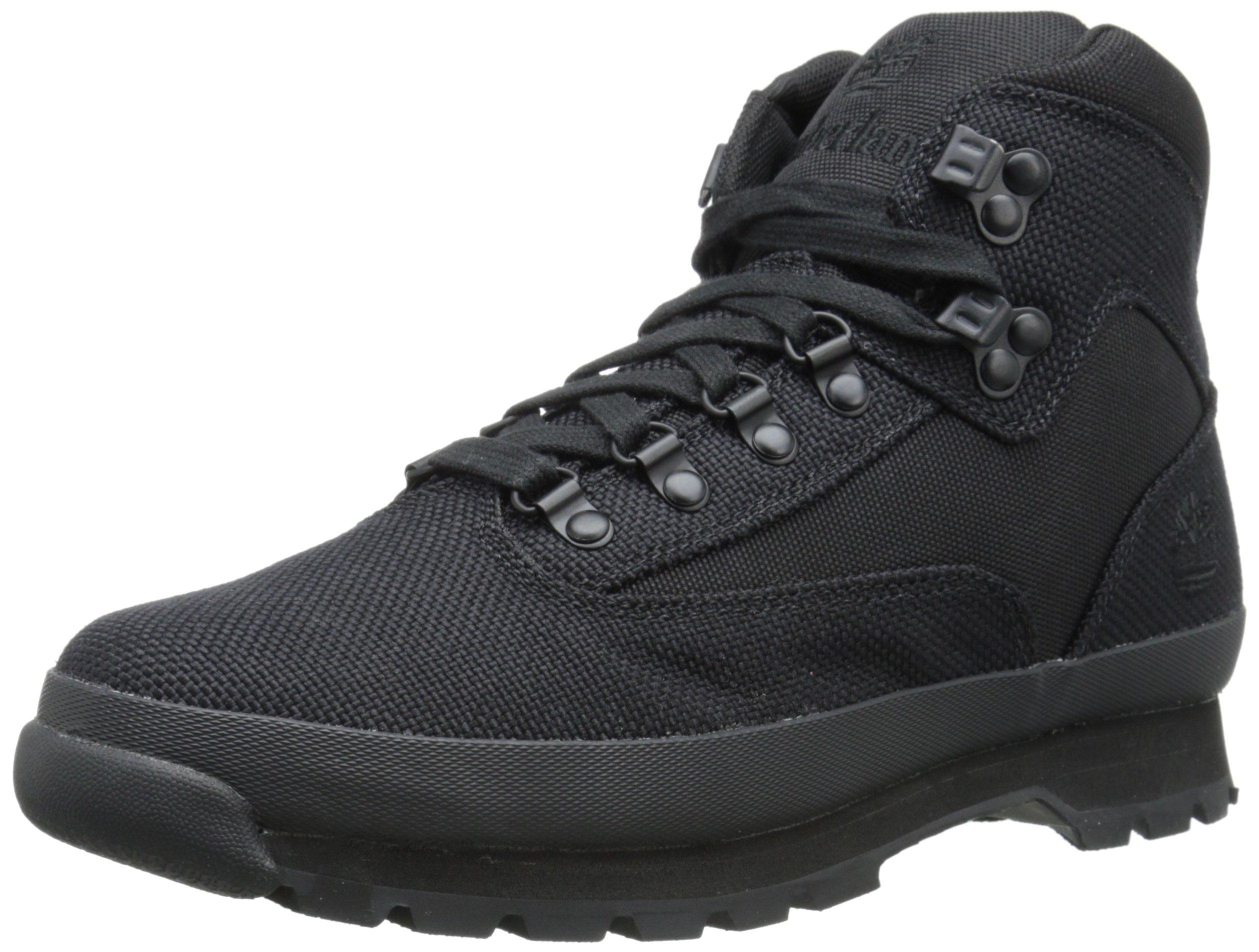 Timberland Men's Euro Hiker Mid Fabric Fashion Sneaker, Black, 12 M US