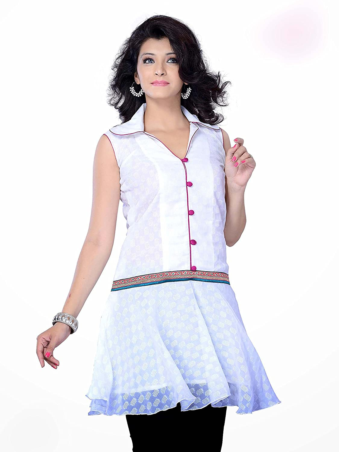 Jayayamala White Georgette Fabric Tunic Top with Latest Embroidered and Amazing Thread Work