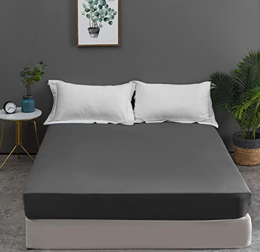 40cm Black Mohap 16 inch Extra Deep King Size Fitted Sheet Only Bedsheet NO Pillowcases Non-Iron Brushed Microfiber Breathable