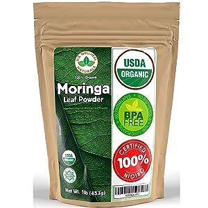 Moringa Powder 1LB (16Oz) 100% CERTIFIED Organic Oleifera Leaf - (100% PURE LEAF   NO STEMS) - Raw from Egypt   Smoothies   Drinks   Tea   Recipes - Resealable Bag