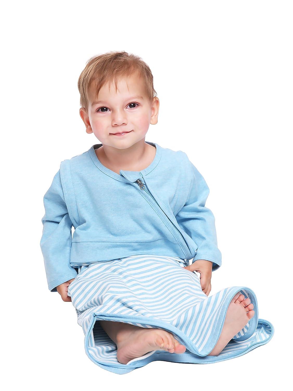 LETTAS Baby Girls 100% Cotton Stripe Removable Sleeve Sleeping Bag 0.5 Tog - Soft Wearable Blanket (M, Blue) LT016-S-BlueM
