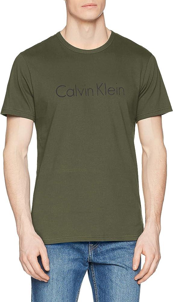 Calvin Klein S/S Crew Neck Camiseta de Pijama, Cazador, S para Hombre: Amazon.es: Ropa y accesorios