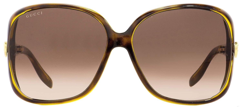 1c663e6ad1 Amazon.com  Gucci Square Sunglasses GG0506S 005 Havana 60mm 0506  Clothing