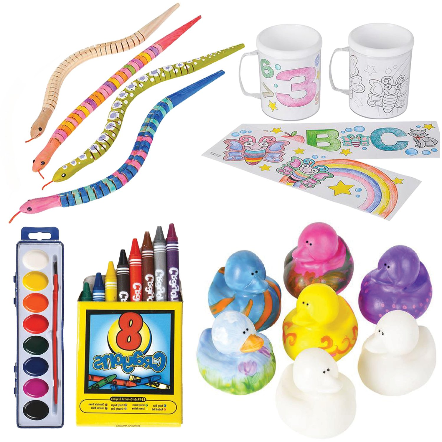 Design your Own Coloring Set by ArtCreativity - Complete Kids Arts & Crafts Kit with 12 Vinyl Duckies, 4 Wooden Snakes, 2 Coloring Mugs, Washable Watercolor Paint and Crayons - Fun, Safe & Non-Toxic