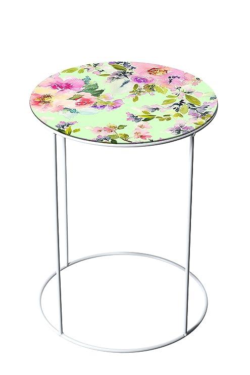 Mesa Auxiliar Redonda con diseño de Flores, Color Blanco, diámetro ...