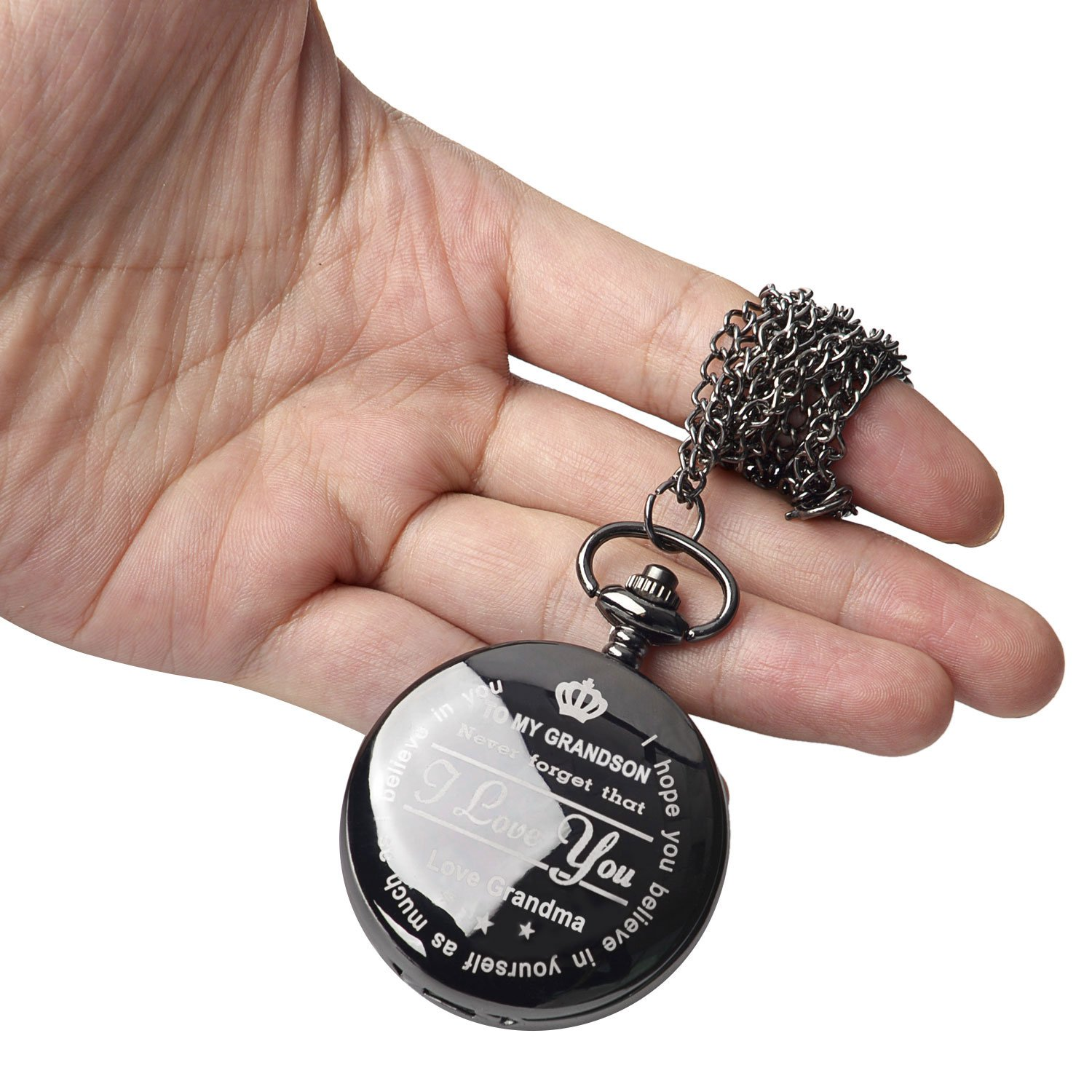 Pocket Watch ''To My GrandSon - Love Grandma(Love Grandpa)''Necklace Chain From Grandparents to Grandson Gifts with Black Gift Box By Qise (Love GrandMa Black) by Qise (Image #3)