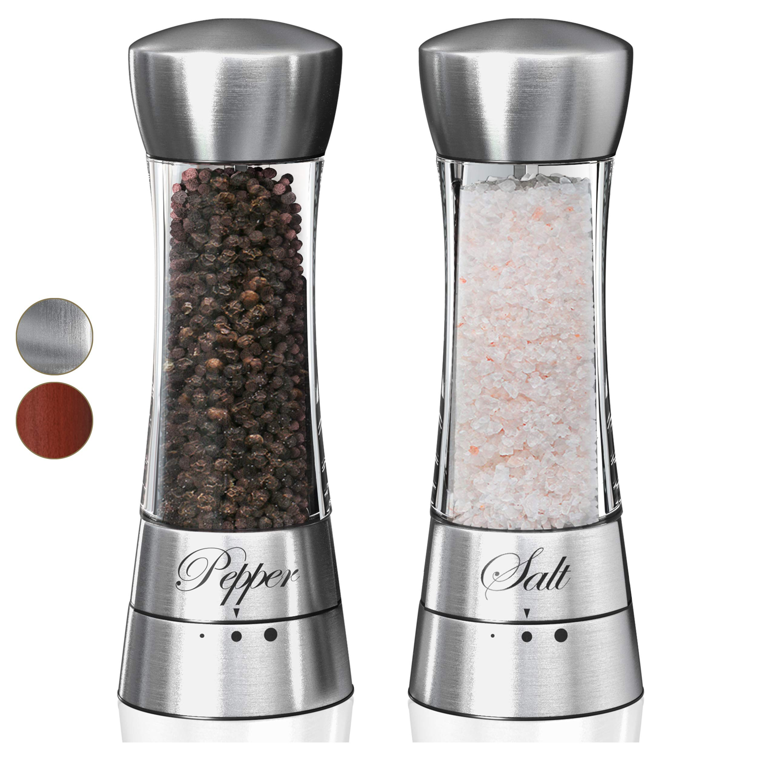 Premium Salt and Pepper Grinder Set. Grinding Shakers Present Set. Perfect Gift Idea for Wedding, Housewarming, Anniversary, Engagement, Birthday. (Clear)