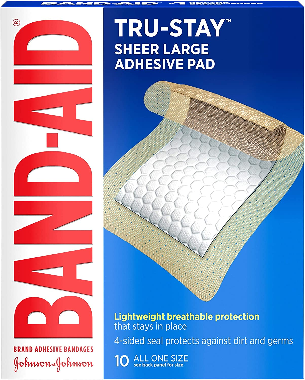Band-Aid Brand Tru-Stay Adhesive Pads, Large Sterile Bandages for Wound Care, Large Size, 10 ct: Health & Personal Care