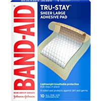 Band-Aid Brand Tru-Stay Adhesive Pads, Large Sterile Bandages for Wound Care, Large Size, 10 ct