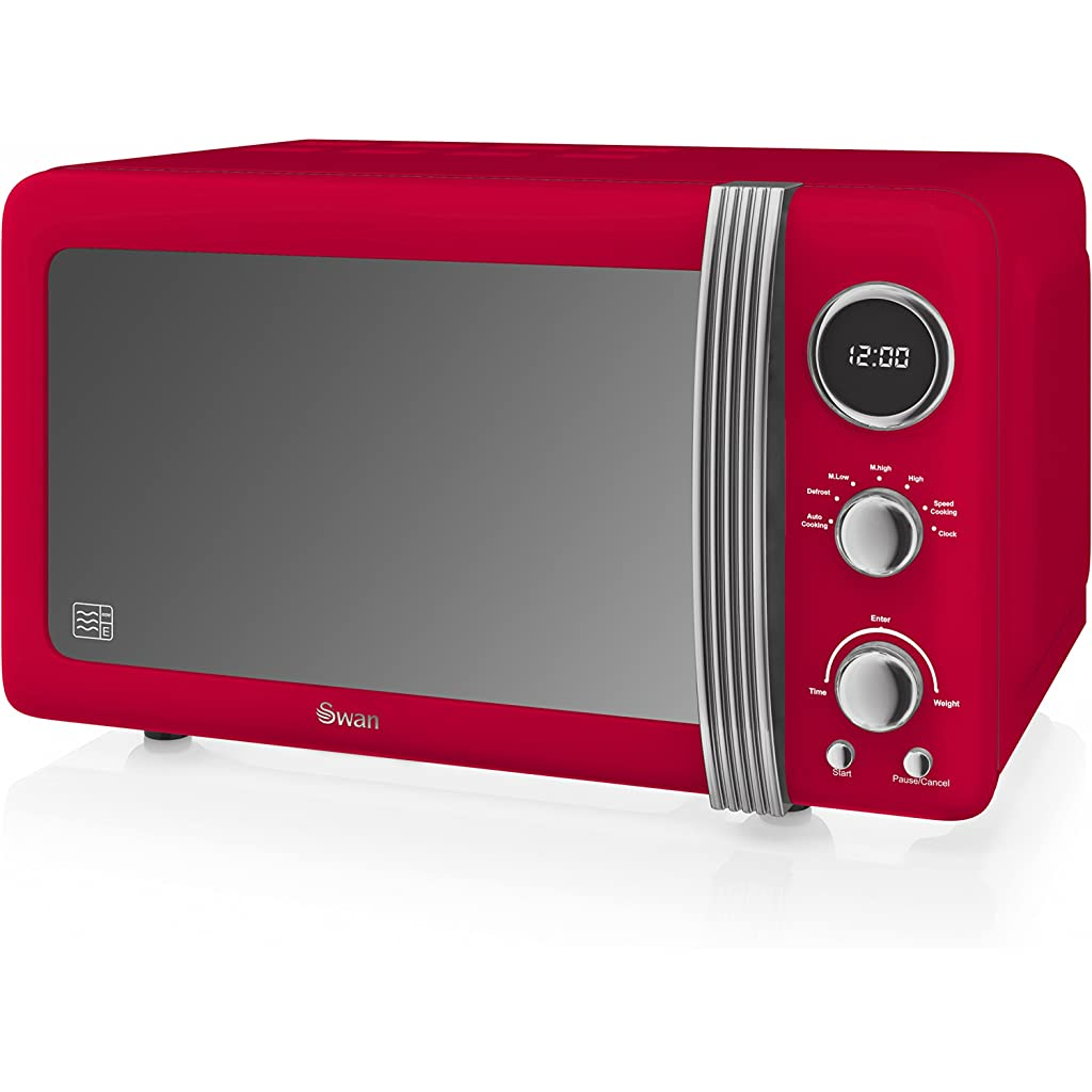 Swan Retro Red Digital Microwave