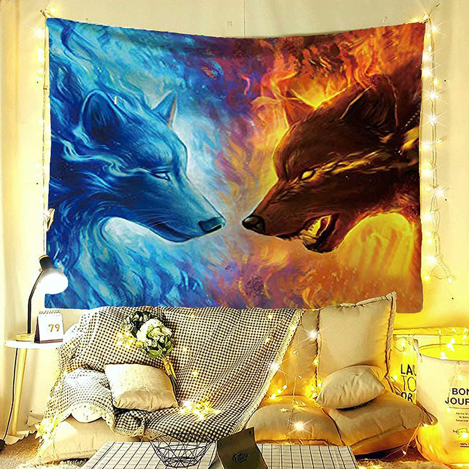 "LOUHO Ice and fire Wolf Tapestry Wall Hanging for Living Room Bedroom Indian Hippie Hippy Tapestries Psychedelic (79""x 59"", Ice and fire)"