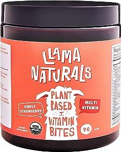 Llama Naturals Plant Based Vitamin Bites (Adults); Organic; No Added Sugar, Sweeteners or Synthetics; Vegan Multivitamin Gummy (D3, B12, Folate & More); 90 Real Fruit Bites (30 Days) (Strawberry)