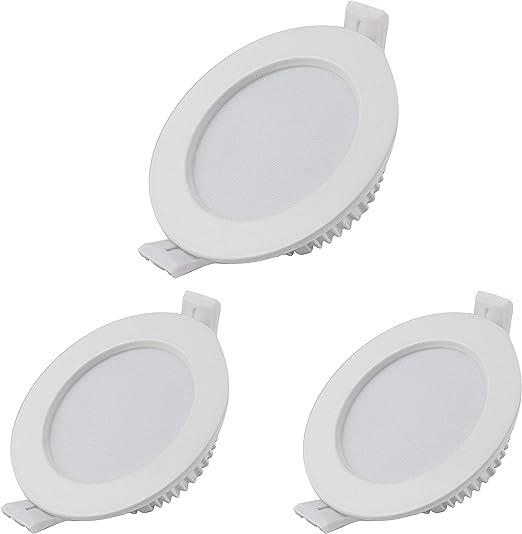 Juego de 3 focos LED empotrable, 7 W, luz blanca cálida, 3000 K, 550 lm, 230 V, tamaño del agujero 90 mm, ultrafino, no regulable, IP44, focos empotrables para cocina, salón, cuarto de baño