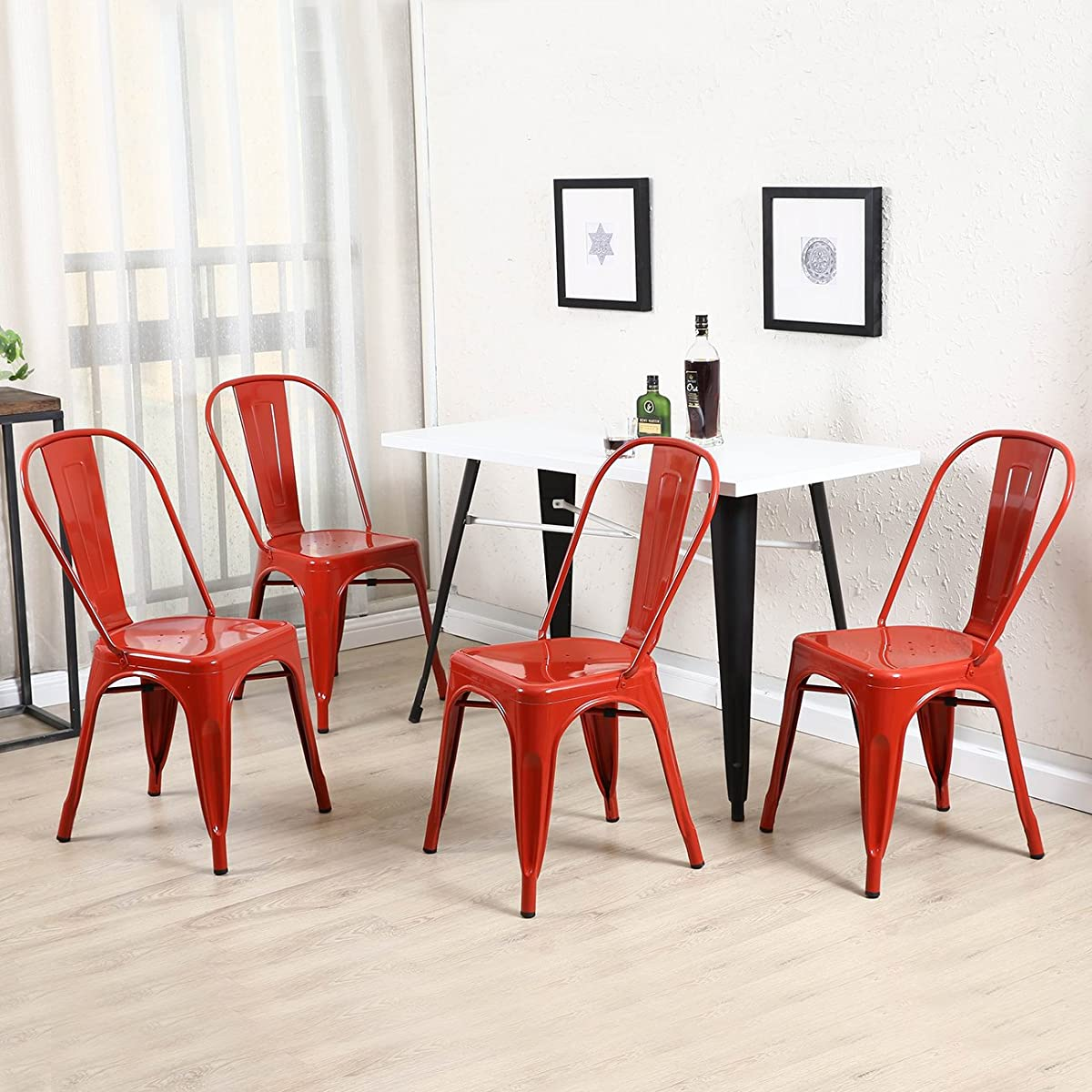Belleze Set of (4) Vintage Style Dining Chairs Steel High Back Side Chairs Stool (Red)