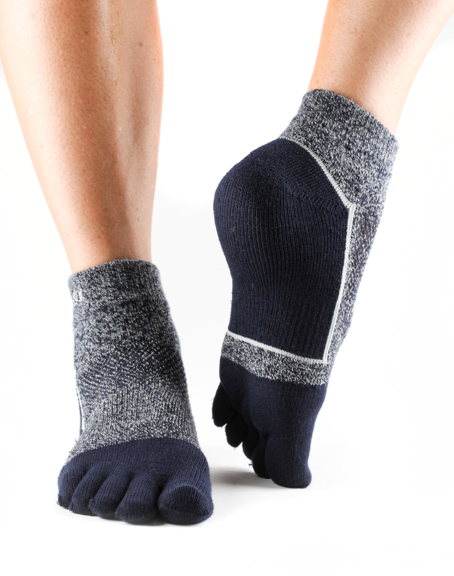 ToeSox UltraSport Performance Medium Weight Ankle Toe Socks (Navy Blue) Medium by toesox (Image #1)