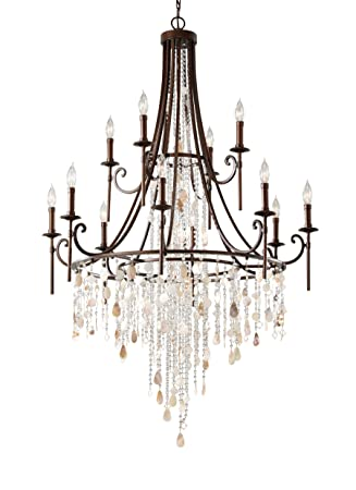 Feiss F2661 8 4HTBZ Cascade Crystal Bead Shell Chandelier Lighting, Bronze, 12-Light 37 Dia x 36 H 720watts