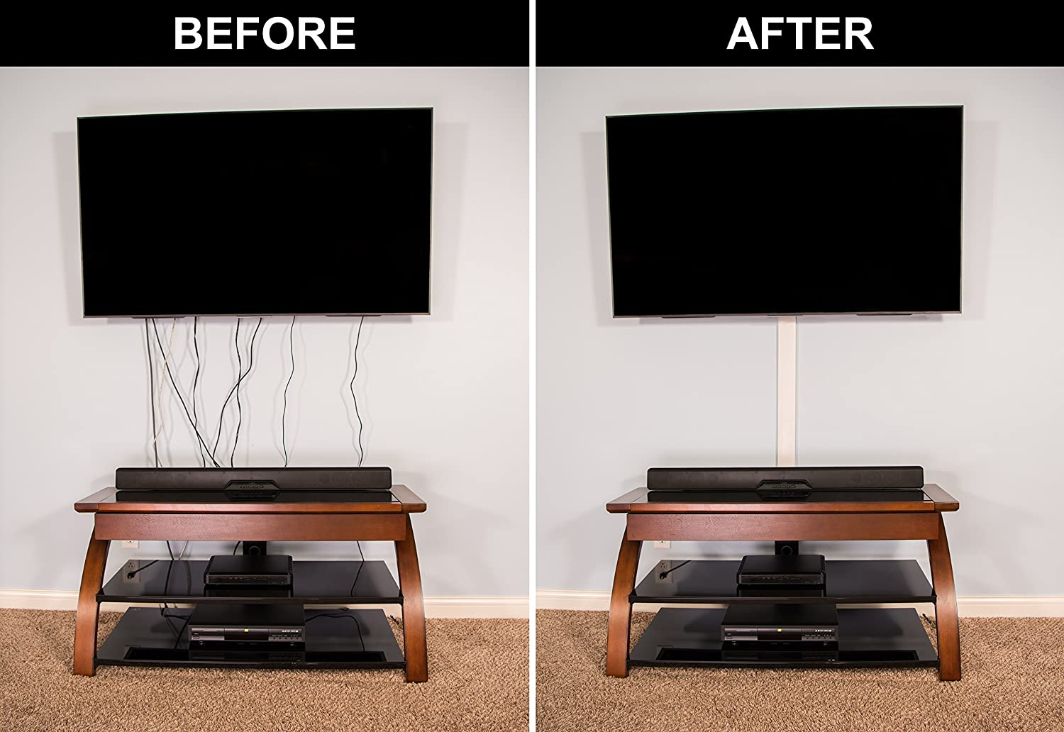 Amazon.com: TV Cord Cover Conceals Cables, Cords, or Wires, 32 inch ...