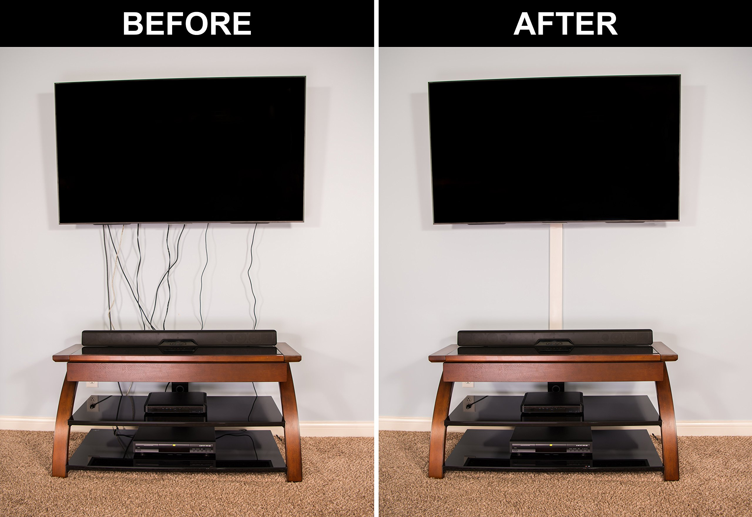 TV Cord Cover Conceals Cables, Cords, or Wires, 32 inch Wall Raceway ...