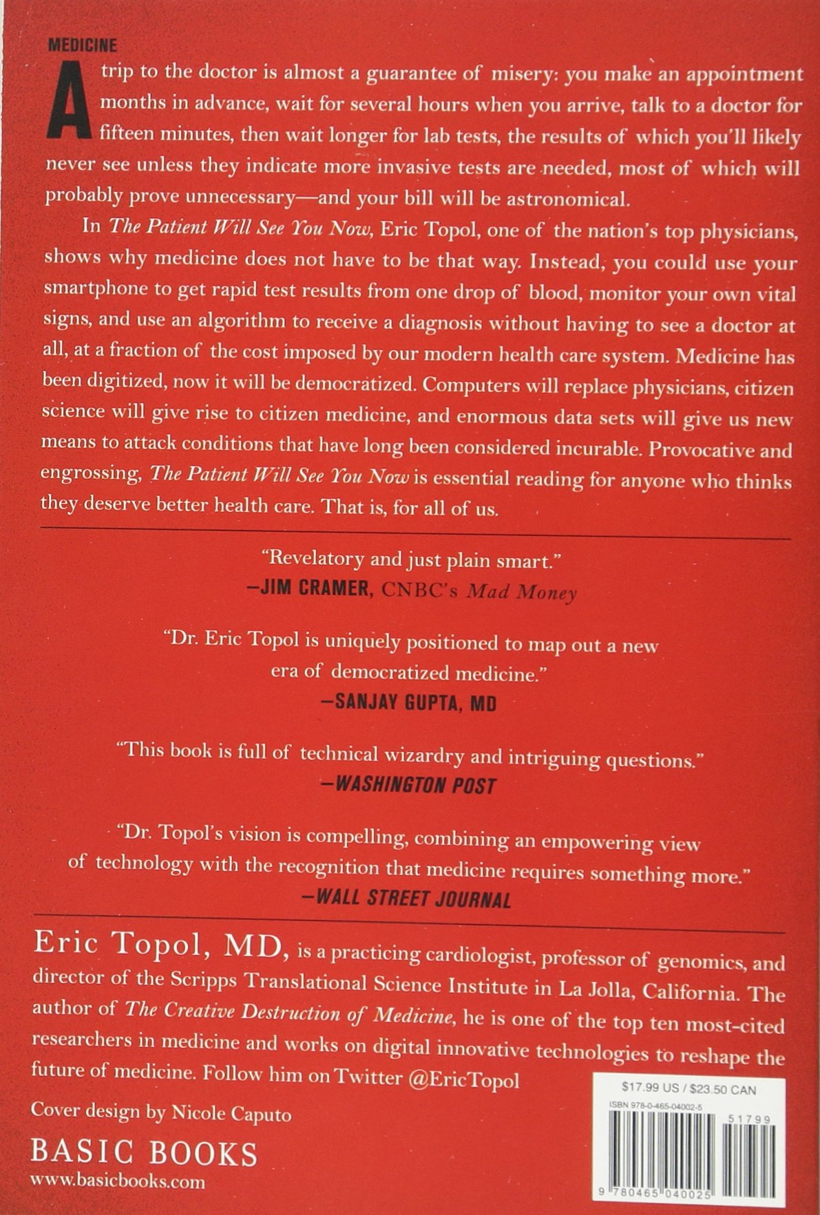 The Patient Will See You Now Future Of Medicine Is In Your Hands Amazonde Eric Topol Fremdsprachige Bucher