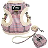 Didog Soft/Cosy Dog Vest Harness and Leash Set with Cute Bags,No Pull Escape Proof Breathable Mesh Dog Harness,Classic Plaid/