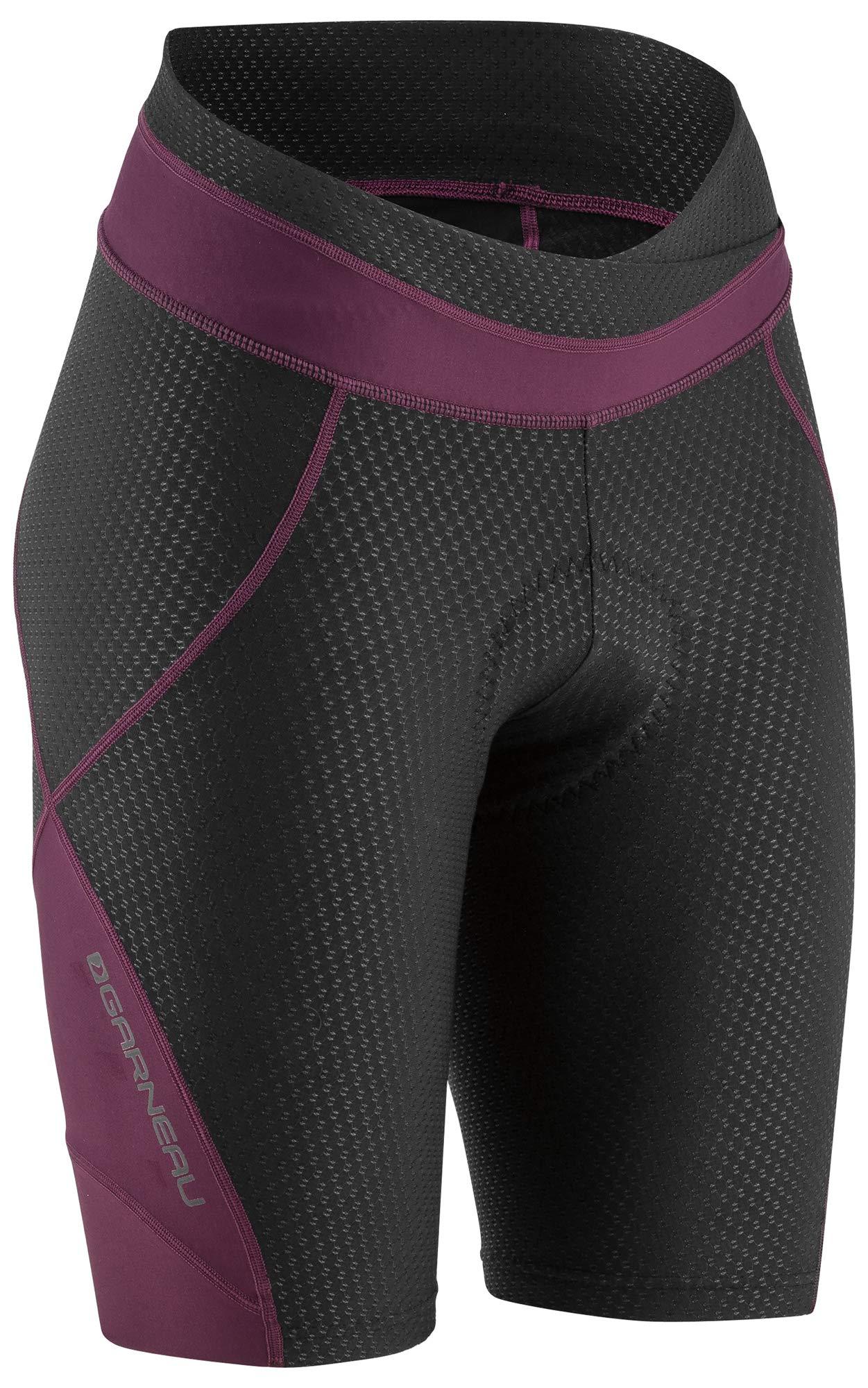 Louis Garneau Women's CB Carbon 2 Padded, Compression, Performance Bike Shorts, Black/Purple, Medium