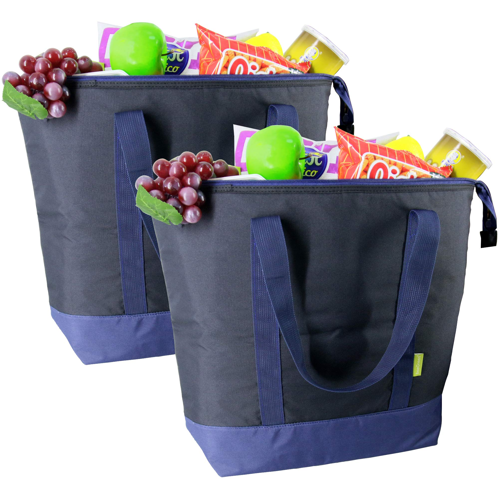 Cooler Tote Bags Insulated Grocery ChillOut Thermal Bags Large 50LBS Shopping for Groceries Reusable Freezer Bag with Zippered Top for Hot and Cold Food Transport 2 Pack Black by BeeGreen