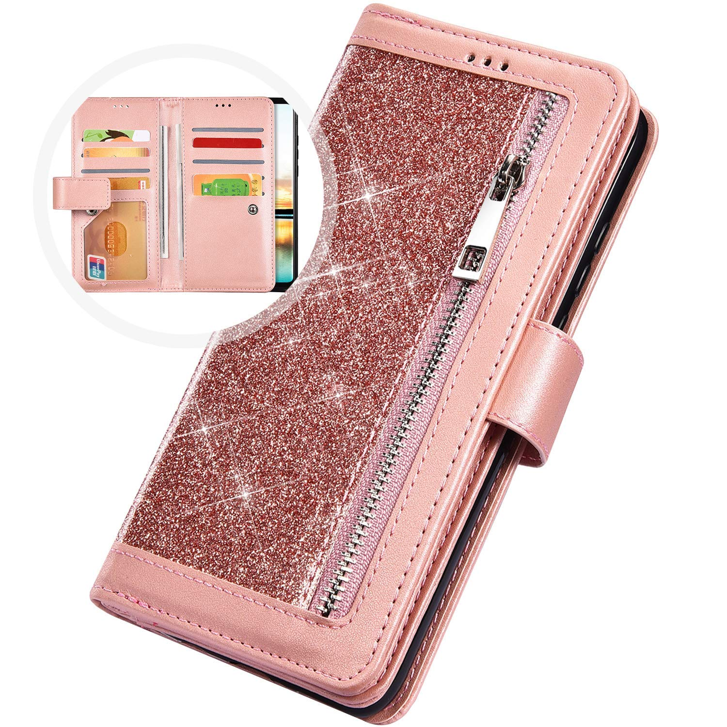 PHEZEN Case for Samsung Galaxy A50 Wallet Case,Sparkle Bling Glitter PU Leather Magnetic Flip Folio Protective Case Multi-Function 9 Credit Card Holders with Zipper Coins Purse Cover,Rose Gold by PHEZEN