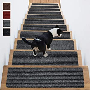 Stair Treads Non-Slip Carpet Indoor Set of 14 Grey Carpet Stair Tread Treads Stair Rugs Mats Rubber Backing (30 x 8 inch),(Grey, Set of 14)