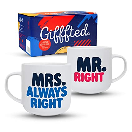 24afa0fd78 Gifffted Mr Right Mrs Always Right Coffee Mugs Set, Funny His and Hers  Couple Marriage