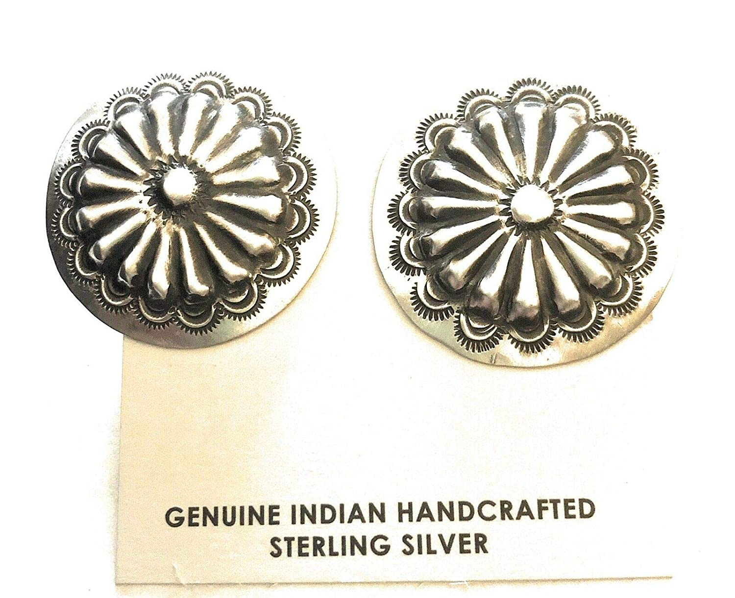 Amazon Navajo Sterling Silver Concho Earrings Signed