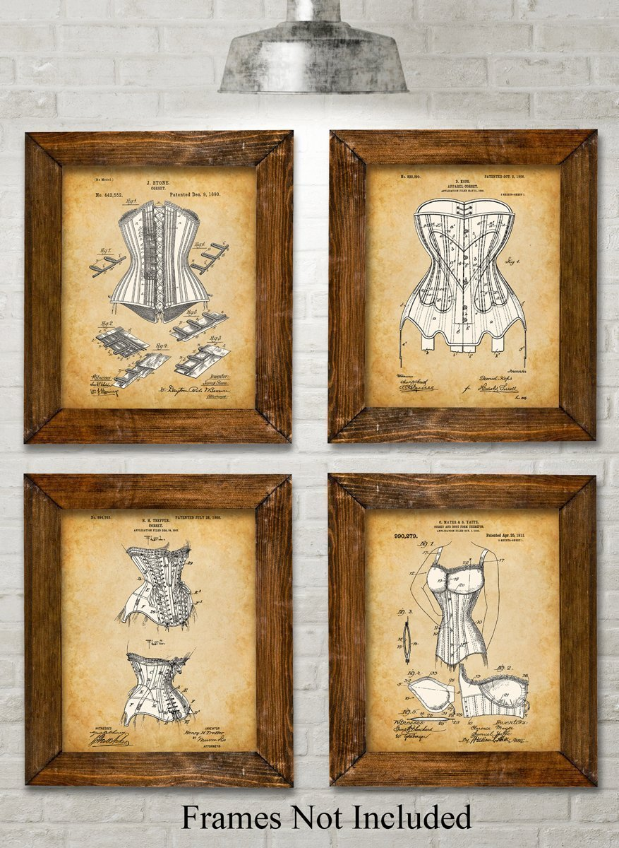 Original Corsets Patent Art Prints - Set of Four Photos (8x10) Unframed - Makes a Great Gift Under $20 for Goth, Pinup… 3