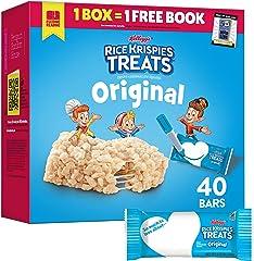 Rice Krispies Treats Marshmallow Snack Bars, Kids Snacks, School Lunch, Single Serve, Original, 31.2oz Bars (40 Bars)