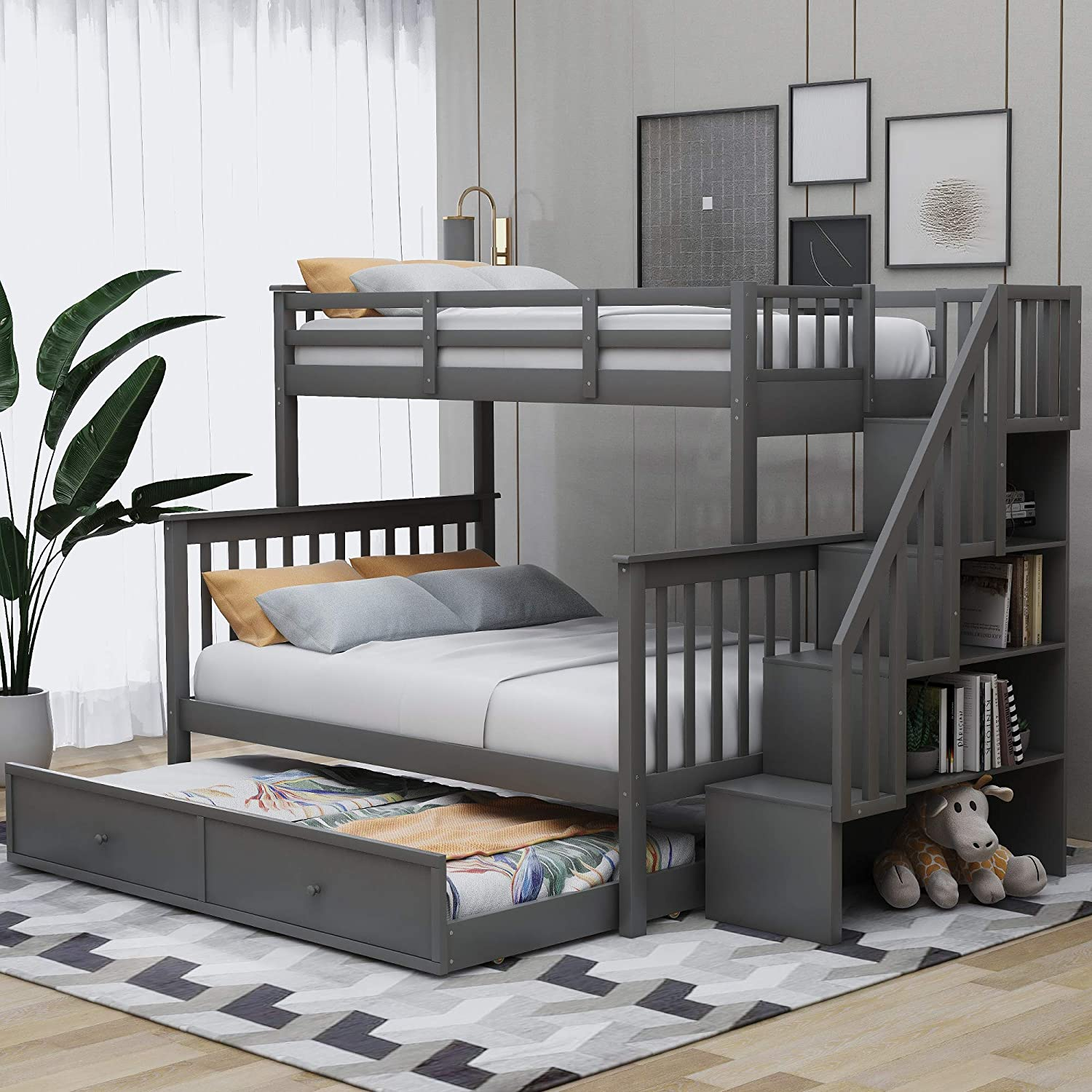 Amazon Com Merax Solid Wood Twin Over Full Stairway Bunk Bed With Twin Size Trundle Storage And Guard Rail For Kids Adults No Spring Box Needed Grey Kitchen Dining
