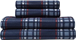 Elite Home Ultra-Soft Winter Nights Collection Microfleece Sheet Set, Midwood Plaid Navy, King