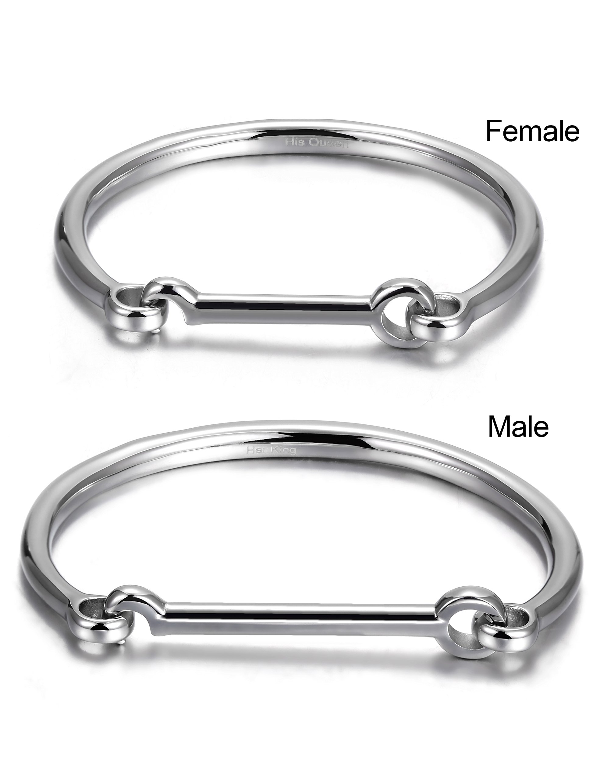 His & Hers Couples Gifts Stainless Steel Flat Head Screw Bar D-shape Cuff Bangle Bracelet White(2pcs)