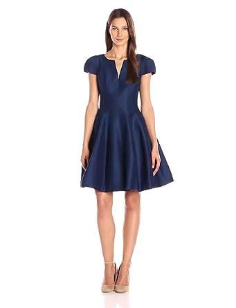 Halston Heritage Women S Short Sleeve Notch Neck Dress