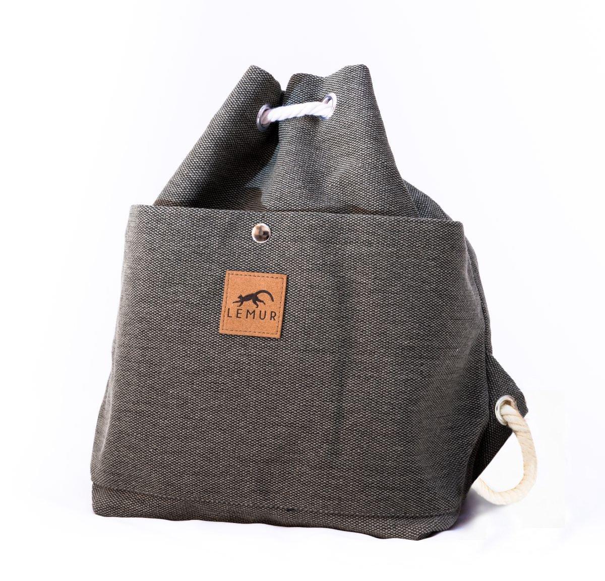 Canvas Drawstring Bucket Bag - Shoulder Day Bag, Backpack by Lemur Bags (Stone Gray)