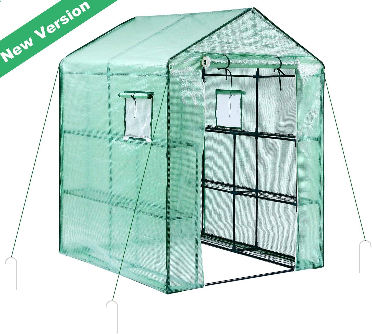 Ohuhu Greenhouse for Outdoors, Large Walk-in Plant Greenhouse, 3 Tiers 12 Shelves Stands Green House for Herb and Flower, 4.9 x 4.7 x 6.4 FT
