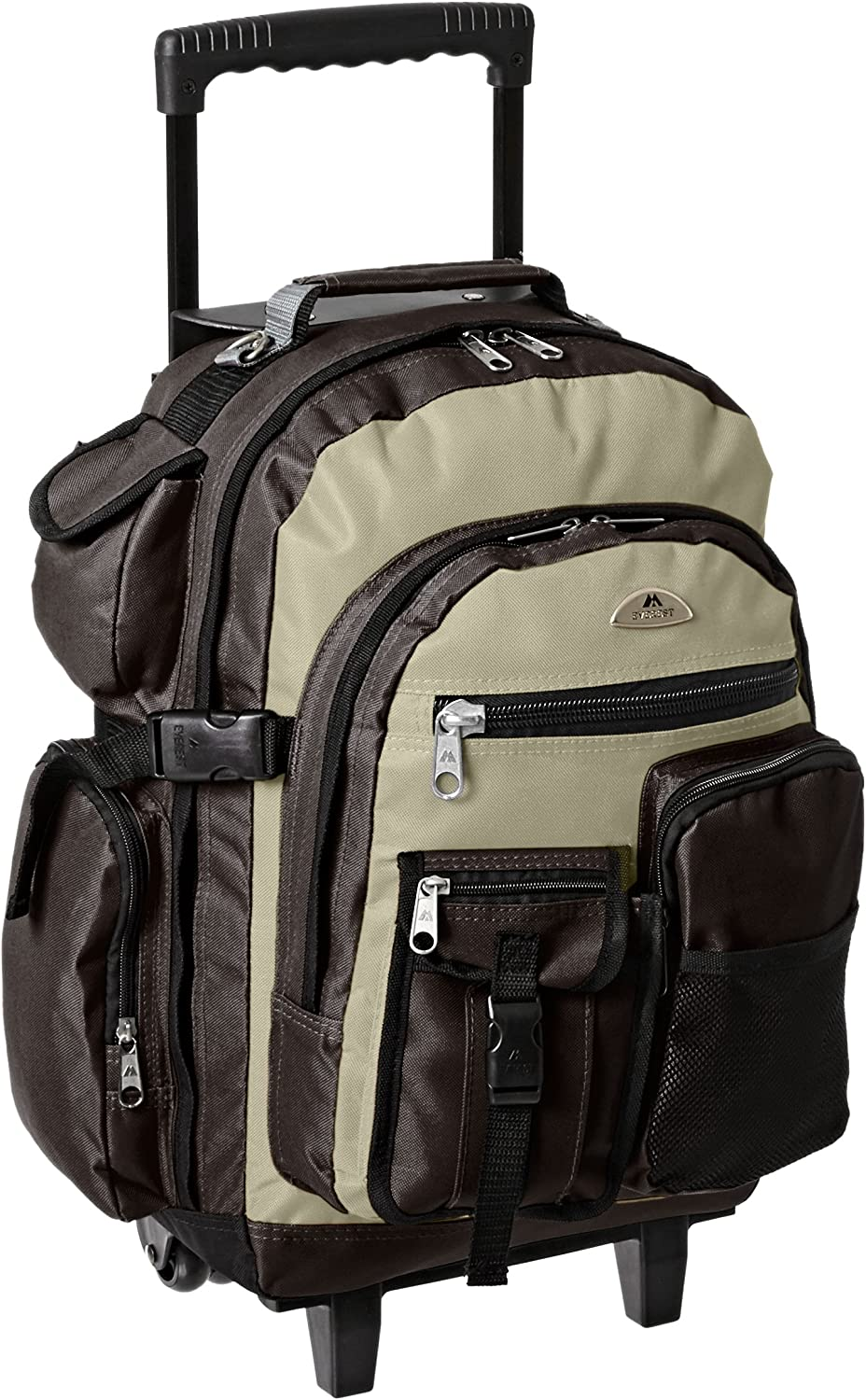 Everest Deluxe Wheeled Backpack, Khaki, One Size