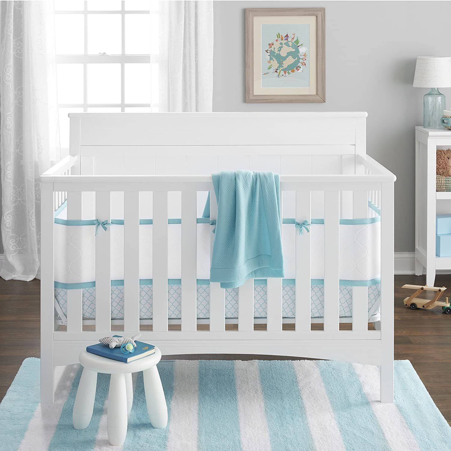 BreathableBaby Deluxe Embossed 4 Piece Bedding Set, Sea Foam by BreathableBaby   B01C2IBO70