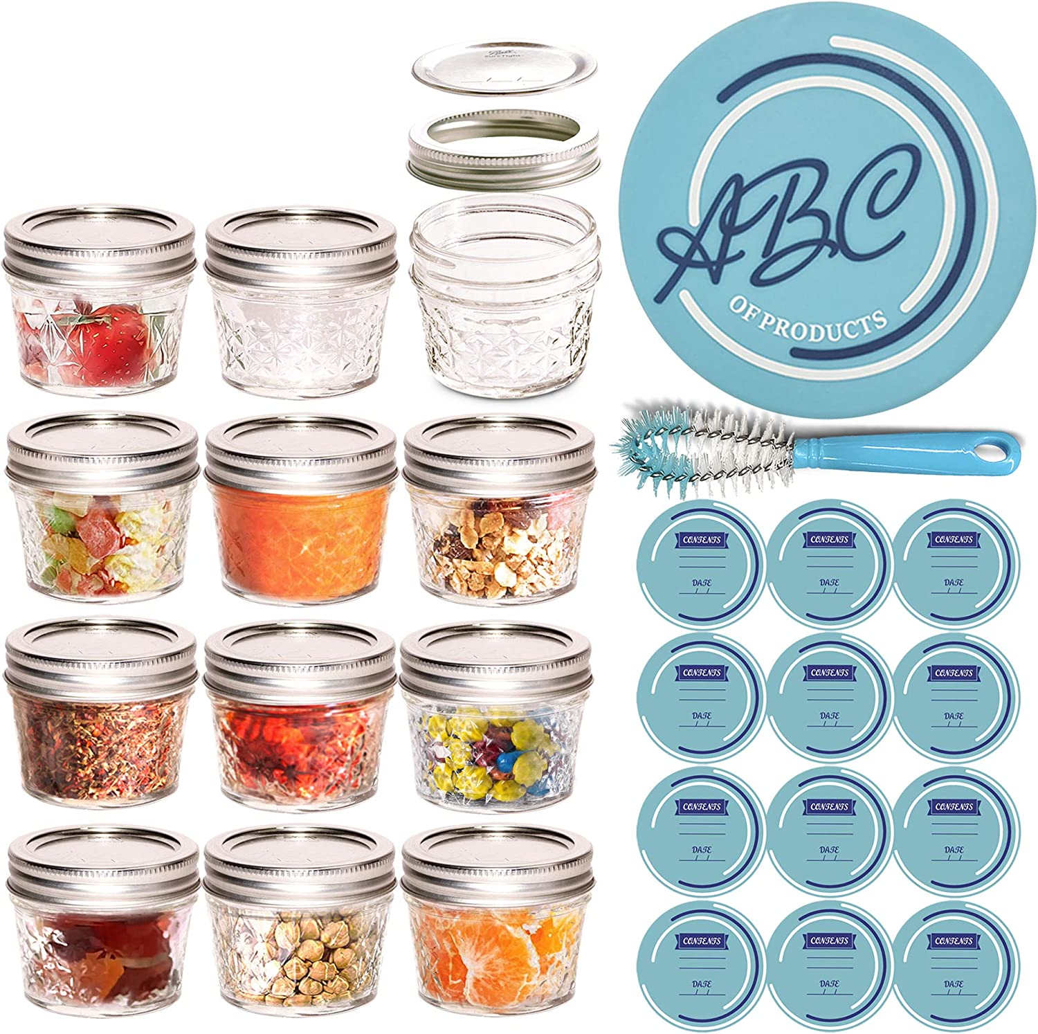4 oz Mason Jars,12pcs Glass Jelly Jars with Lids and Bands, Quilted Glass Mason Jars and Leak-Proof Airtight Regular Lids of Corrosion Resistant Metal, Ideal for Food Storage, Honey, Jam, Spice, Baby, Decorating Jar, Wedding Favors, Shower Favors, Making Candles, BONUS Bottle Brush, Canning Labels, Silicone Jar Opener