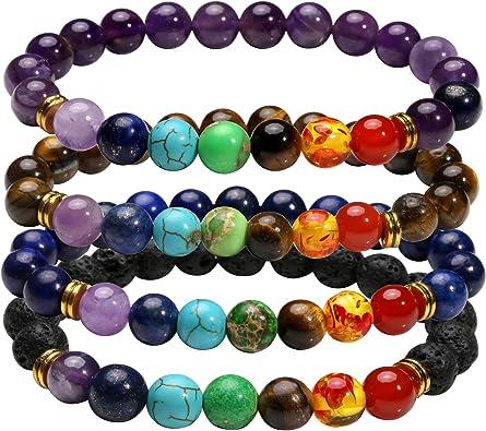 MILAKOO Men Women 8mm Lava Rock 7 Chakras Diffuser Bracelet Elastic Yoga Healing Beads Bracelet Bangle