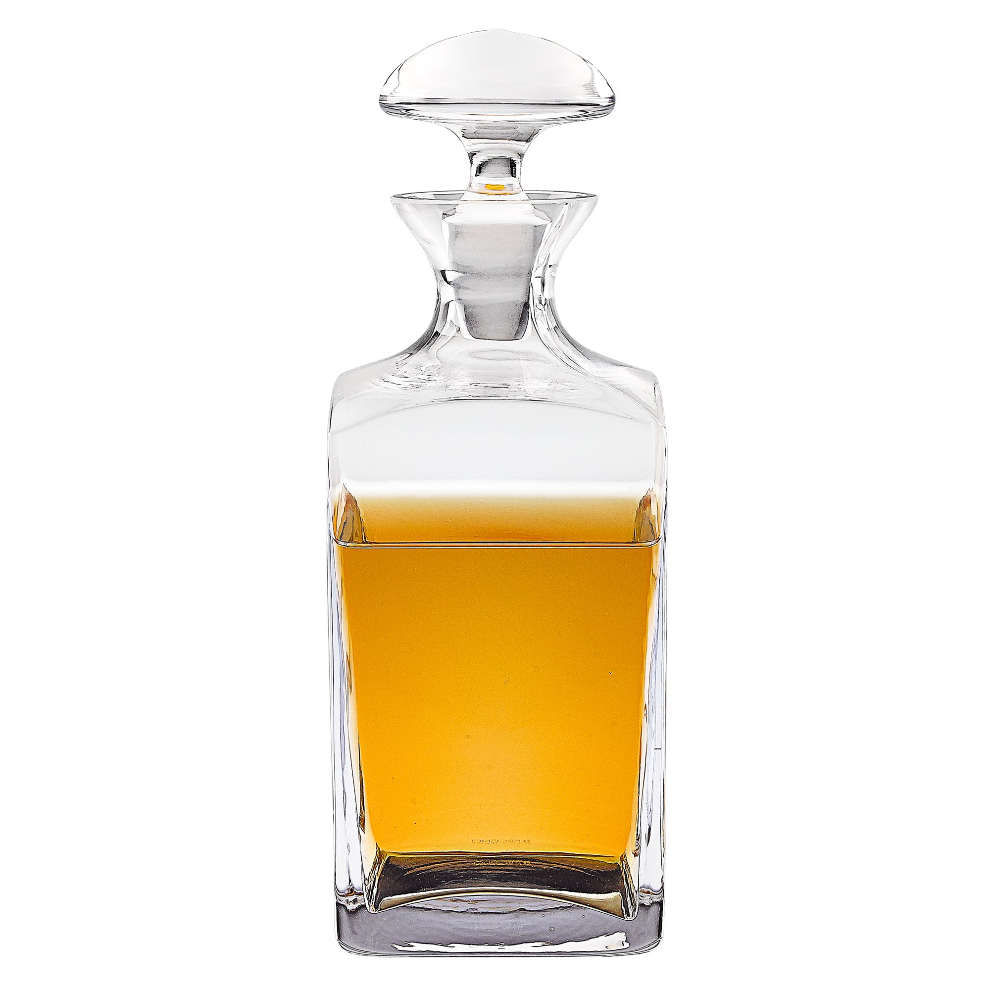Badash Andre Square European Mouth Blown 34 oz. Scotch or Whiskey Lead Free Crystal Decanter H10.5''